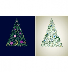 two Christmas tree backgrounds vector image