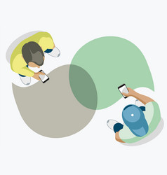 two friends chat using smartphones vector image