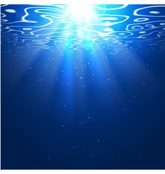 Underwater background with sun rays Editable vector image