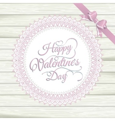 Valentines Day vintage lace card on wood EPS 10 vector