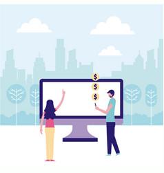 volunteers help work vector image
