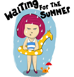 waiting for the summer vector image