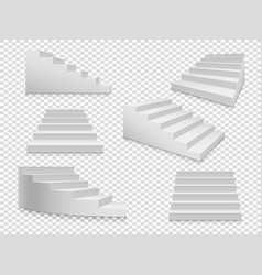white 3d stairs isolated ladder or vector image