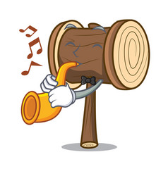 With trumpet mallet mascot cartoon style vector