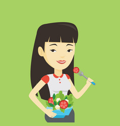 woman eating healthy vegetable salad vector image