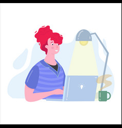 Woman sitting in front computer and working vector