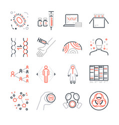 Pandemic and outbreak plague line icons set vector