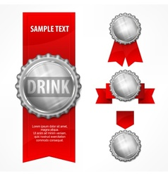 Bottle caps red ribbon on vector image vector image