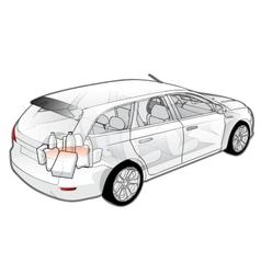 Car infographics cutaway vector image vector image