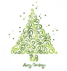 Christmas tree of curls vector image