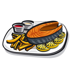 cooked fried salmon vector image vector image