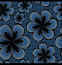 seamless pattern with blue tiare flower vector image