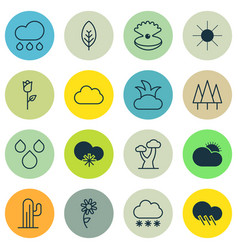 Set of 16 ecology icons includes tree leaf vector