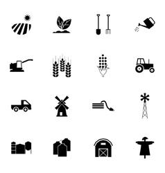 black farming icons set vector image