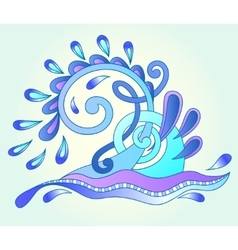 decorative aquatic blue wave with sparks and drops vector image vector image