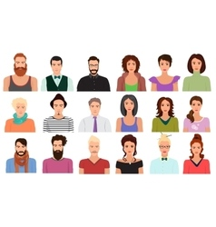 Man Male and Female woman character faces avatar vector image