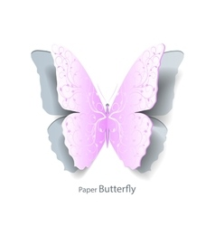 Pink butterfly cut out of paper vector image
