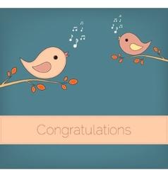Simple card of funny cartoon bird on branch vector image