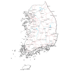 South Korea Black White Map vector image vector image