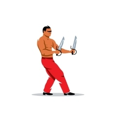 Wing Chun kung fu Man with two swords vector image vector image