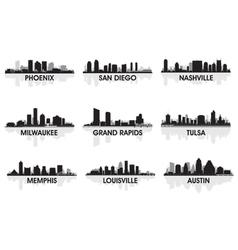 american cities skyline set vector image