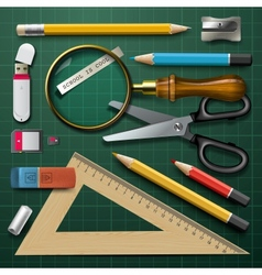 Colorful school supplies vector image vector image