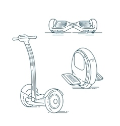 Electric scooters line set vector image vector image