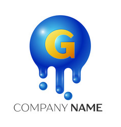 g letter splash logo blue dots and bubbles letter vector image vector image