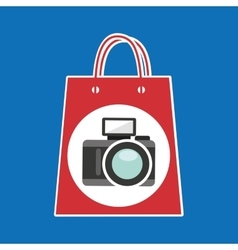 hand holds bag gift camera design vector image vector image