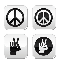 Peace hand gesture buttons set vector image
