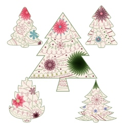 Vintage christmas trees vector image vector image
