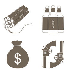 wild west icons set isolated vector image vector image