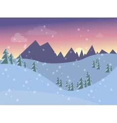 Winter landscape for the postcard into flat style vector image