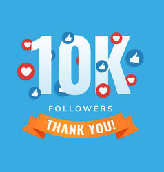 10k followers social sites post greeting card vector image