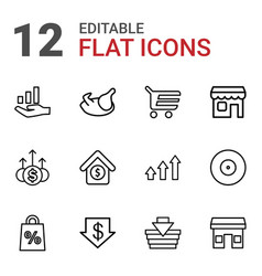 12 market icons vector