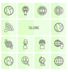 14 globe icons vector image