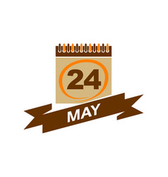24 may calendar with ribbon vector