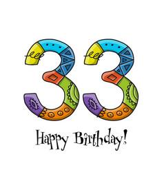 33th anniversary celebration greeting card vector