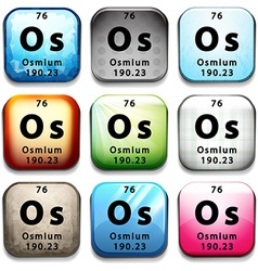 A button with the chemical osmium vector