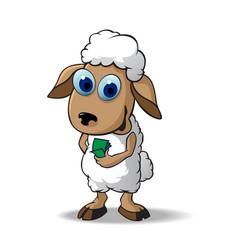 A sheep hold money vector