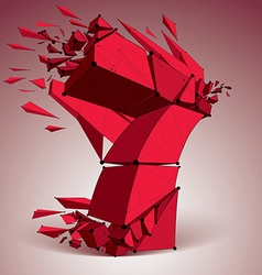 Abstract low poly wrecked red number 7 with black vector image