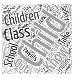 After school safety tips and reminders Word Cloud vector