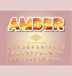 Amber glossy font cartoon paper cut out alphabet vector