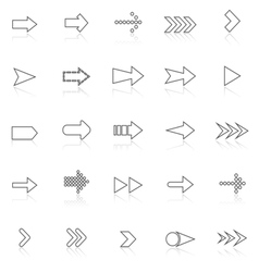 Arrow line icons with reflect on white vector