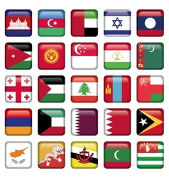 Asia Flags Square Buttons vector