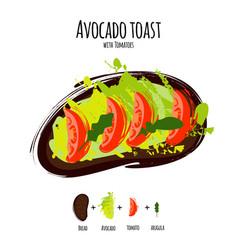 avocado hummus toasts vector image
