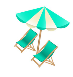 beach umbrella and chairs to decorate tourist vector image