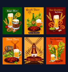 beer drink poster for bar pub or brewery design vector image