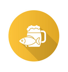 Beer mug with salty fish flat design long shadow vector