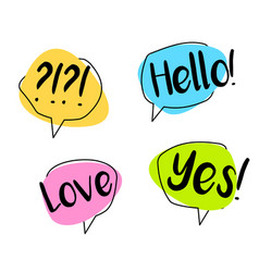big set colorful speech bubble chat hello yes vector image